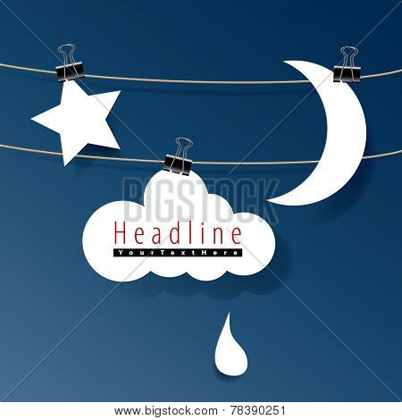 vector original symbolic abstract illustration with moon, cloud and star with clips on rope