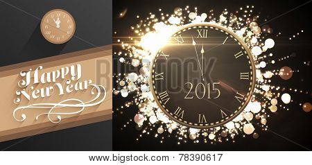 Clock counting down to midnight against classy new year greeting