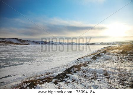 Winter landscape on Baikal region