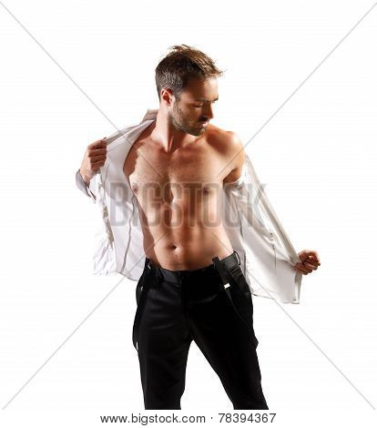 Businessman Undresses