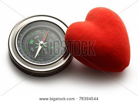 Compass And Red Heart