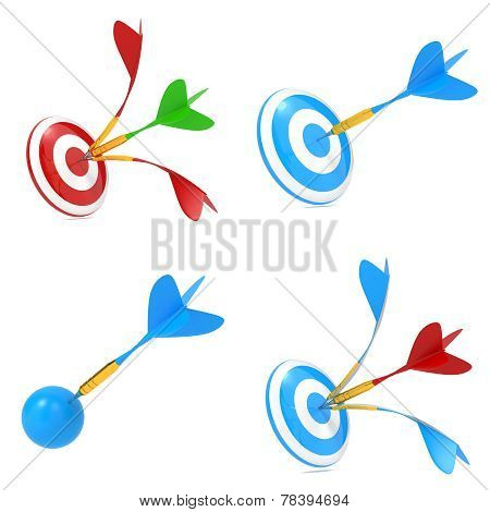 Multicolor Darts Hitting a Target.