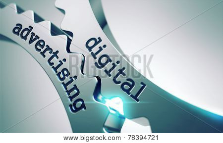 Digital Advertising Concept on the Gears.