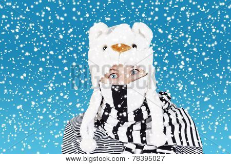 Comical Woman And Heavy Snow