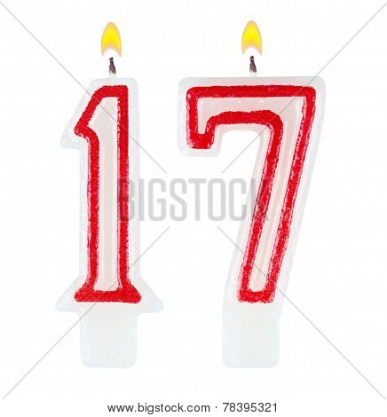 Birthday Candles Number Seventeen Isolated