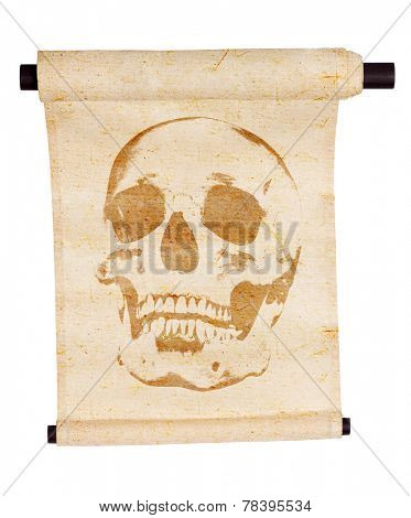 light scroll with skull  isolated on white background