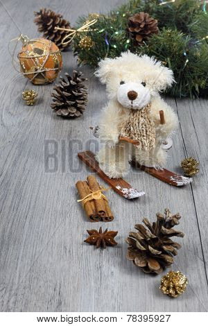 Christmas Composition: Teddy Bear On Skis In The New Year's Decor