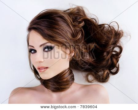 Woman Face With Beauty Hairs