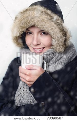 Pretty Young Woman In Warm Winter Fashion