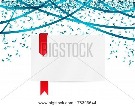 Falling Blue Confetti And Blank Paper