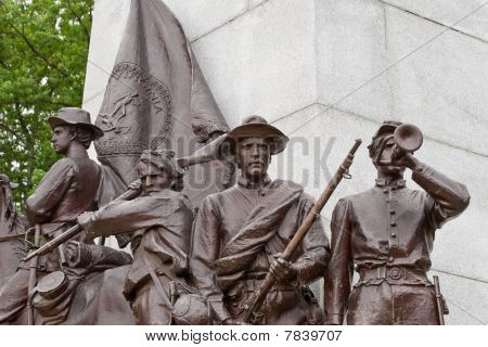 Statue Details Of Virginia Memorial At Gettysburg
