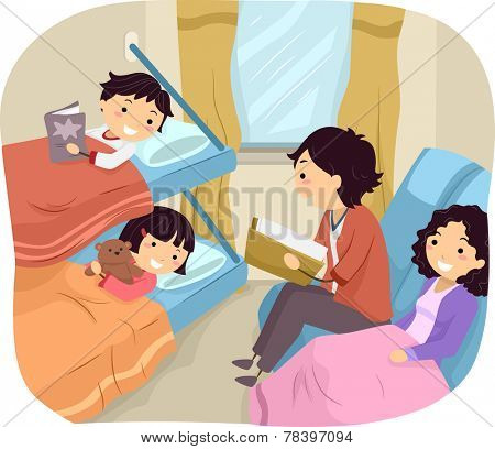 Illustration of a Family Spending the Night in a Sleeper Train
