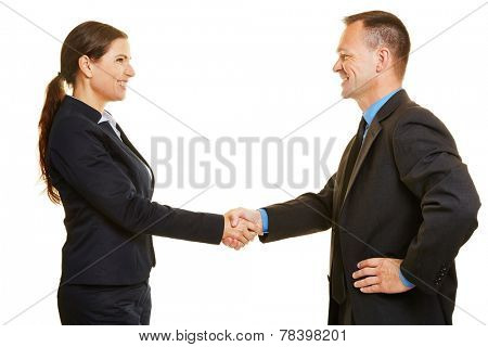 Handshake between two successful business people for closing a deal