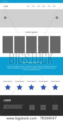 Modern Responsive Web Template. Menu, Carousel, Banners, Text, Icons, Footer. Blue, Grey, White Colo