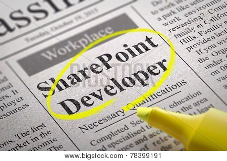 Share Point Developer Vacancy in Newspaper.
