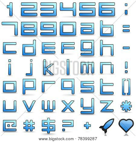 Alphabet and Punctuation Signs in Digital Style.
