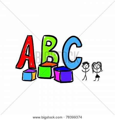 A B C Letter Color Vector