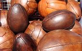 Soccer and rugby balls