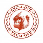 image of ape  - Ape head logo in red and white - JPG