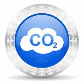stock photo of carbon-dioxide  - carbon dioxide blue icon - JPG