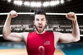 stock photo of volleyball  - American volleyball player celebrates on volleyball court - JPG