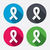 stock photo of breast cancer awareness ribbon  - Ribbon sign icon - JPG