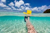 stock photo of leg-split  - Split above and underwater photo of woman legs with fins at shallow water on tropical beach - JPG