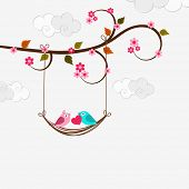 pic of corazon  - Cute love birds couple holding a pink heart and swinging on branch of tree on cloudy background for Happy Valentine - JPG