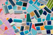 image of ceramic tile  - art tile wall made from crack tile