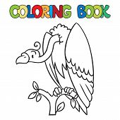 picture of prairie  - Coloring book or coloring picture of funny vulture sitting high on a branch above the Prairie - JPG