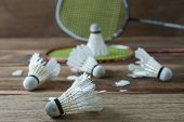 stock photo of shuttlecock  - Shuttlecock and Racket with parts of its feathers scattered on wooden - JPG