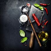 stock photo of tablespoon  - Vintage cutlery and fresh ingredients on dark background - JPG