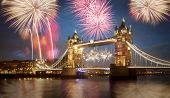 picture of london night  - Tower bridge with firework - JPG