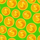 stock photo of golden coin  - Seamless texture with golden coins flat style - JPG