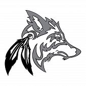 stock photo of white wolf  - Vector tribal Wolf head for tattoo design isolated on white background - JPG
