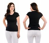 Brunette With Blank Black Shirt And White Pants