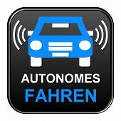 stock photo of car symbol  - Isolated Black Button with car symbol autonomous driving in german language - JPG