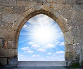 stock photo of gates heaven  - Gate to heaven with blue sunny sky  - JPG