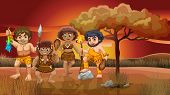 stock photo of caveman  - A group of cavemen roaming around the forest - JPG