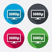 stock photo of tv sets  - Full hd widescreen tv sign icon - JPG