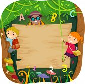 foto of vines  - Illustration of Kids Climbing a Board in the Forest Surrounded by Vines - JPG