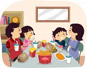 pic of stickman  - Illustration of a Family Eating Fast Food for Dinner - JPG