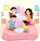 image of pillow-fight  - Illustration of a Family Having a Pillow Fight in Bed - JPG