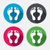 stock photo of footprint  - Human footprint sign icon - JPG