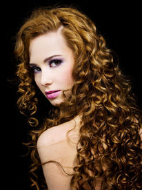 image of beautiful woman  - Portrait of a beautiful woman with beauty long ringlets hairs with fashion bright pink make - JPG
