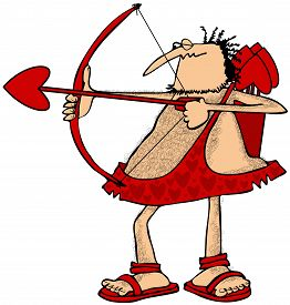 stock photo of cupid  - This illustration depicts a hairy Cupid drawing back on his red bow and aiming a love arrow - JPG
