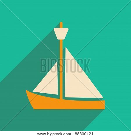 Flat with shadow icon and mobile applacation yacht