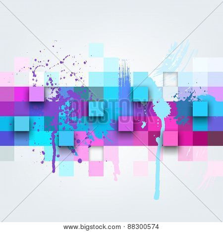 Vector background. Illustration of abstract texture with squares and paint splashes.