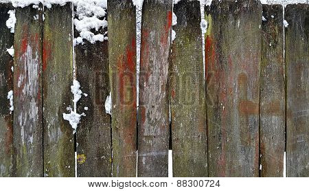 Old Wooden Fence In Winter