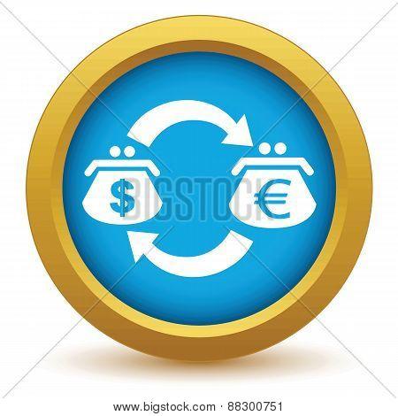 Gold dollar euro exchange icon